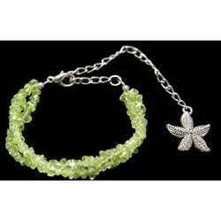 Handmade Tibetan-style Peridot Bracelet (China) - Green