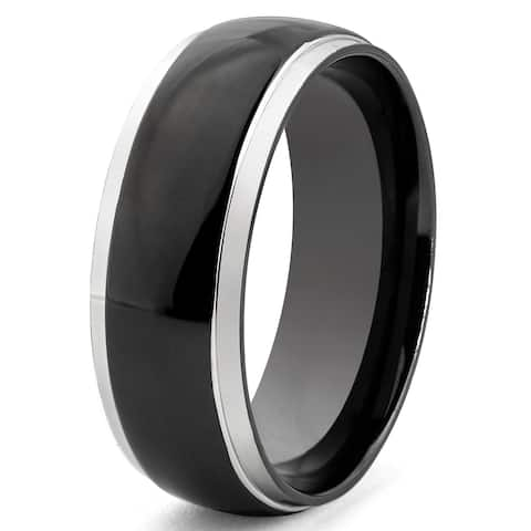 Crucible Black Plated Two Tone Stainless Steel Band Ring (8mm)