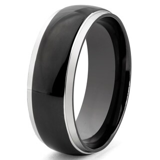 Crucible Two-tone Stainless Steel Black-plated Center Ring (More options available)
