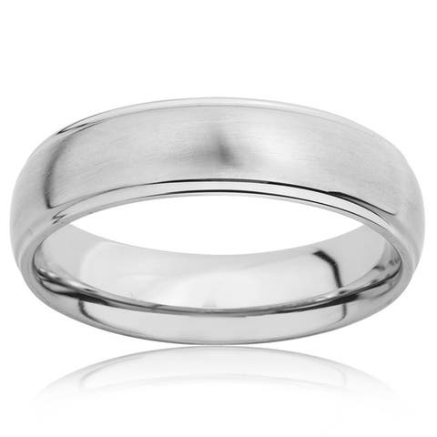 Crucible Brushed Titanium Grooved Domed Comfort Fit Ring - 6mm Wide