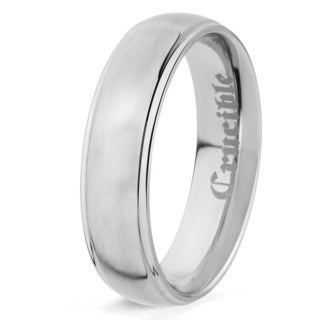 Crucible Brushed Titanium Grooved Domed Comfort Fit Ring - 6mm Wide (Option: 12.5)