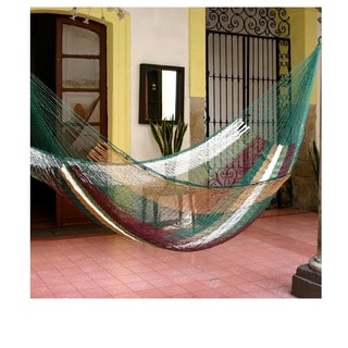 Mother Earth Outdoor Garden Patio Pool Green White Brown Stripe Handmade Knotted Rope Style Nylon Single Hammock (Mexico)