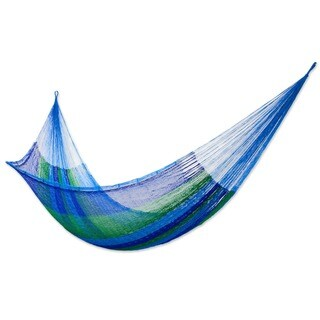 Sea Breeze Outdoor Garden Patio Pool Shades of Blue and Green Stripe Handmade Knotted Rope Style Nyl