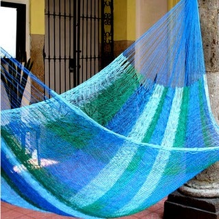 Sea Breeze Outdoor Garden Patio Pool Shades of Blue and Green Stripe Handmade Knotted Rope Style Nylon Single Hammock (Mexico)