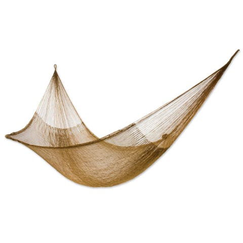 Handmade Glowing Copper Outdoor Beach Garden Patio Pool Knotted Rope Style Nylon Single Hammock (Mexico)