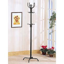 Satin Black Finish Metal Coat Rack