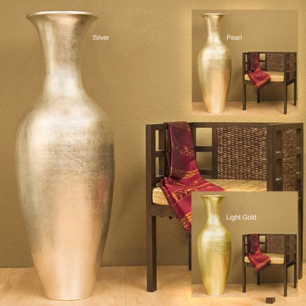 Metallic Leaves Floor Vase
