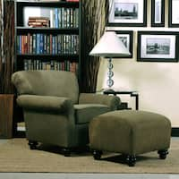 Handy Living Capri Moss Green Microfiber Arm Chair and Ottoman