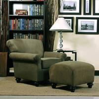 Handy Living Capri Moss Green Microfiber Arm Chair and Ottoman