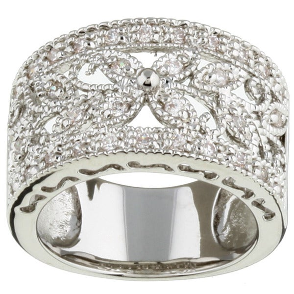 Rhodium-plated Cubic Zirconia Leaf Design Ring