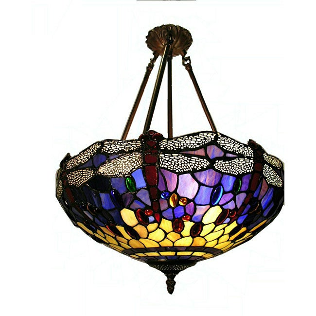 tiffany style hanging dragonfly lamp free shipping today overstock. Black Bedroom Furniture Sets. Home Design Ideas