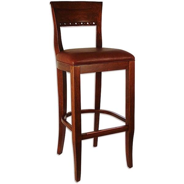 Stools Overstock: Biedermier Brown Seat Medium Oak Barstool