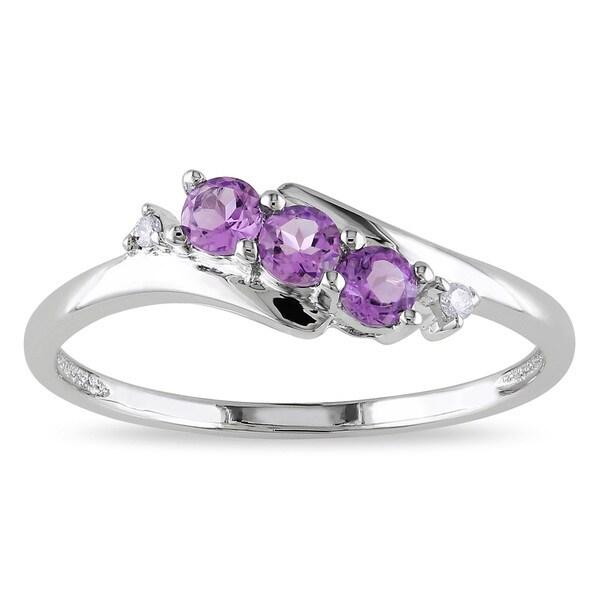 Miadora 10k White Gold Purple Amethyst and Diamond Accent Ring