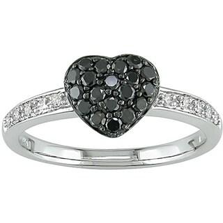Miadora 10k Gold Black and White Diamond Pave Heart Ring