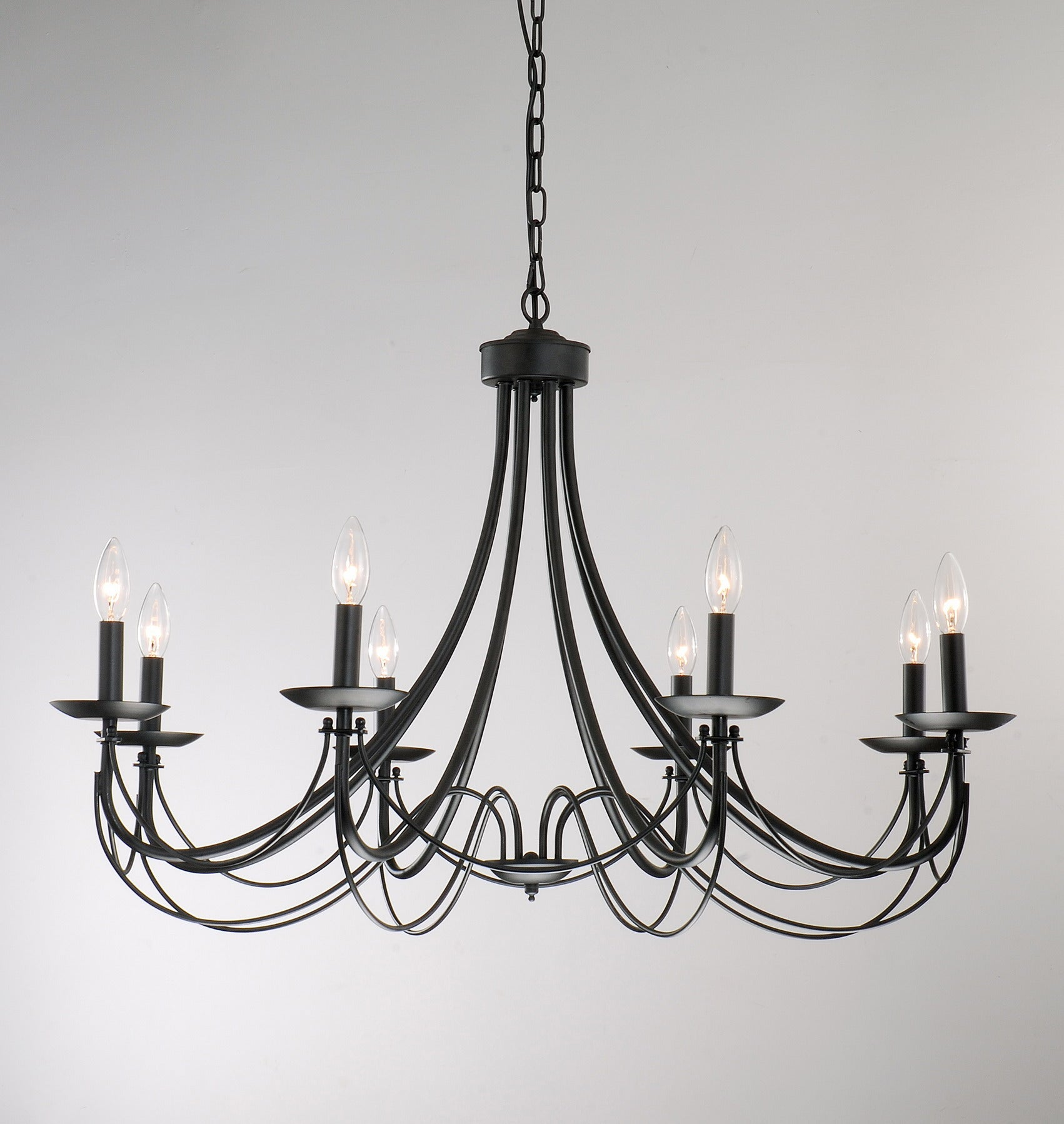Iron 8 light black chandelier free shipping today 11387581 - Chandeliers for small spaces image ...