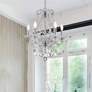 Crystal-and-Iron Five-Light Chandelier