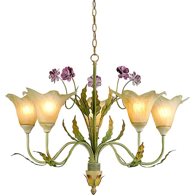 Hand-blown Glass 5-light Floral Iron Chandelier