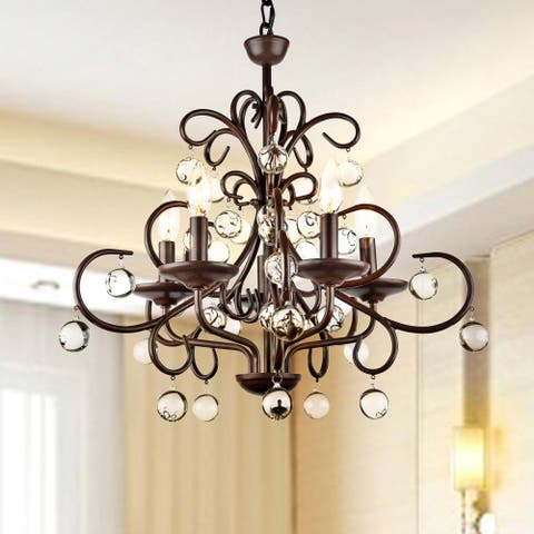 Buy wrought iron ceiling lights online at overstock our best wrought iron and crystal 5 light chandelier aloadofball Gallery
