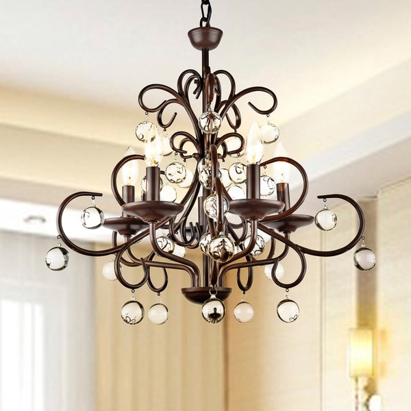 The Lighting Store Dark Amber Wrought Iron and Crystal 5-light Chandelier