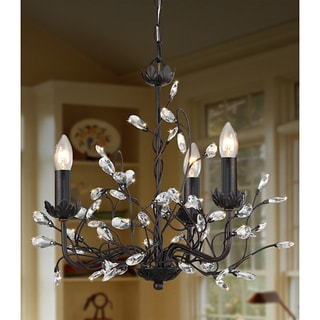 Iron and Crystal 3-light Chandelier