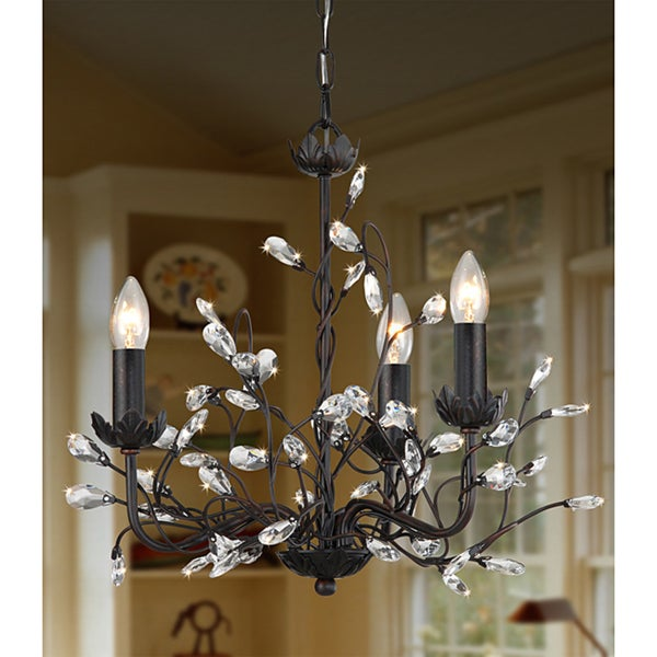 Iron and Crystal 3-light Chandelier - Free Shipping Today ...