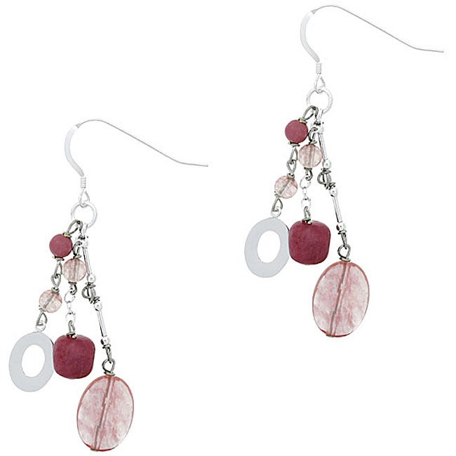 Glitzy Rocks Sterling Silver Cherry Quartz Glass Bead Dangle Earrings