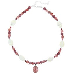 Glitzy Rocks Sterling Silver Cherry Quartz Glass/ Mother of Pearl Necklace