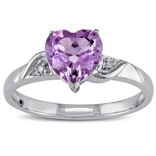 Miadora 10k White Gold Amethyst and Diamond Heart Ring