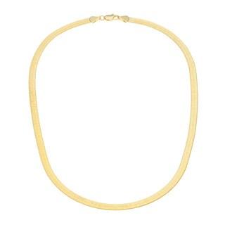 14k Yellow Gold Overlay 18-inch Herringbone Necklace