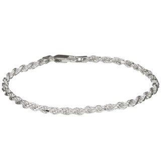 Link to Sterling Essentials Sterling Silver 7-inch Diamond-Cut Rope Chain Bracelet (2.5mm) Similar Items in Bracelets
