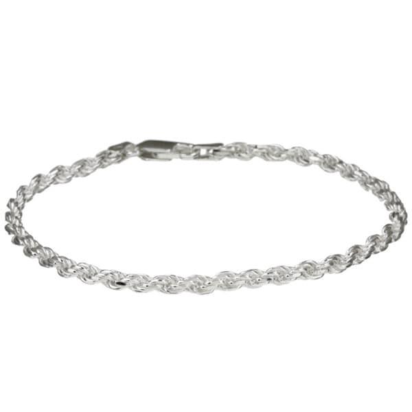 Sterling Essentials Silver 7 Inch Diamond Cut Rope Chain Bracelet 2 5mm