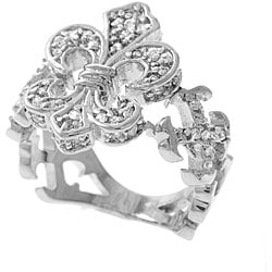 Journee Collection  Sterling Silver Clear CZ Fleur de Lis Ring