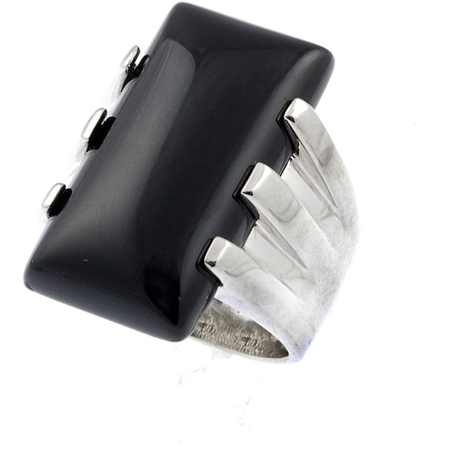 Journee Sterling Silver Black Rectangle Onyx Ring
