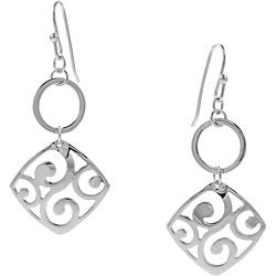 Journee Collection Sterling Silver Square Filigree Earrings