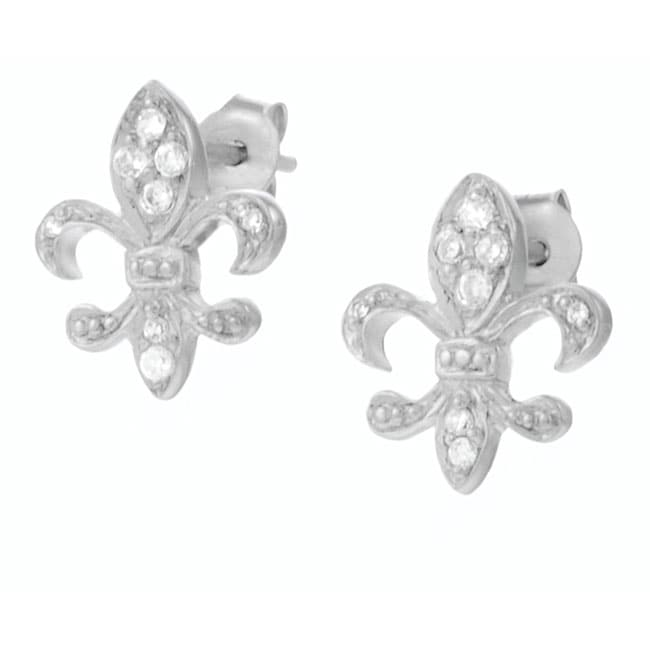 Journee Collection  Sterling Silver CZ Fleur de Lis Earrings