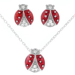 Journee Collection Sterling Silver CZ Ladybug Necklace and Earring Set
