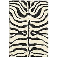 Safavieh Handmade Soho Zebra Ivory/ Black New Zealand Wool Rug - 2' x 3'