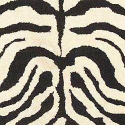Safavieh Handmade Soho Zebra Ivory/ Black N. Z. Wool Runner (2'6 x 10')