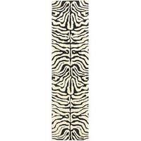 """Safavieh Handmade Soho Zebra Ivory/ Black N. Z. Wool Runner (2'6 x 10') - 2'6"""" x 10'"""