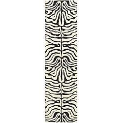 Safavieh Handmade Soho Zebra Ivory/ Black N. Z. Wool Runner (2'6 x 12')