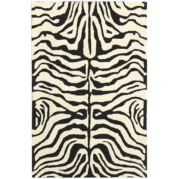 Safavieh Handmade Soho Zebra Ivory/ Black New Zealand Wool Rug (3'6 x 5'6)