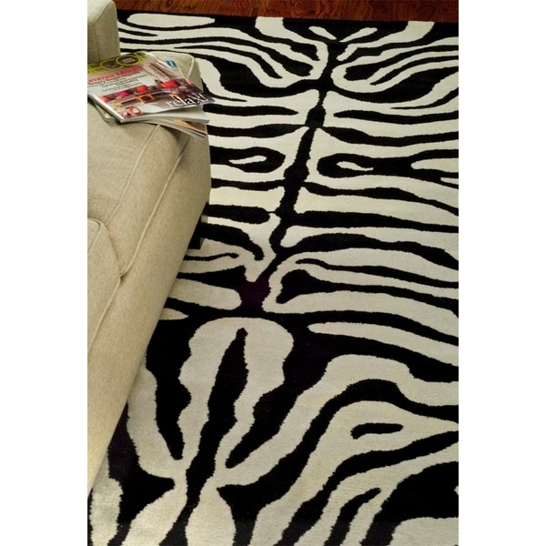 "Safavieh Handmade Soho Zebra Ivory/ Black New Zealand Wool Rug - 3'6"" x 5'6"""