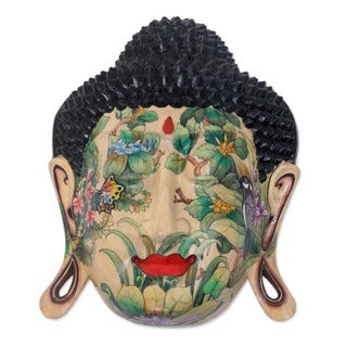 Delighted Buddha Artisan Hand Carved and Painted Nature Motif with Balinese Flowers and Buterflies Wall Art Mask (Indonesia)