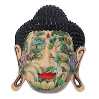 Delighted Buddha Artisan Hand Carved and Painted Nature Motif with Balinese Flowers and Buterflies W
