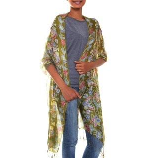Butterfly Bliss 100% Silk Unique Artisan Golden Brown with Multicolor Batik Printed Soft Womens Fashion Scarf Shawl (Indonesia)