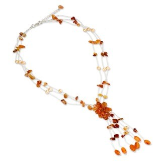Fantasy Orange Carnelian and Freshwater Pearl Cluster with Cascade on Silk Chord Contemporary Womens Necklace (Thailand)