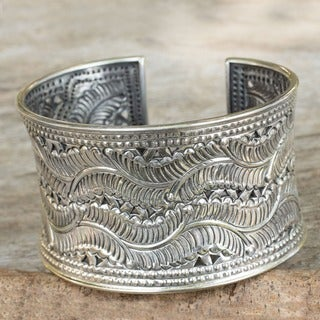 Forest Ferns in Elongated Curves Flow Across this Repouse 925 Sterling Silver Womens Cuff Bracelet (Thailand)