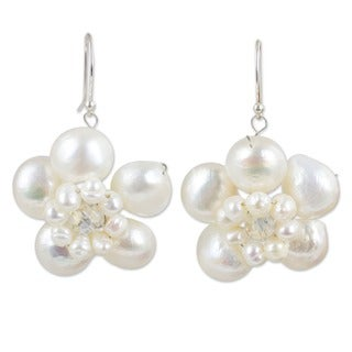 Handmade Sterling Silver Pearl 'Jasmine Garland' Earrings (3-10 mm) (Thailand)