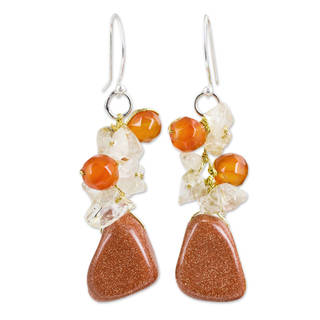 Handmade Sterling Silver Quartz and Carnelian 'Bouquet' Earrings (Thailand)