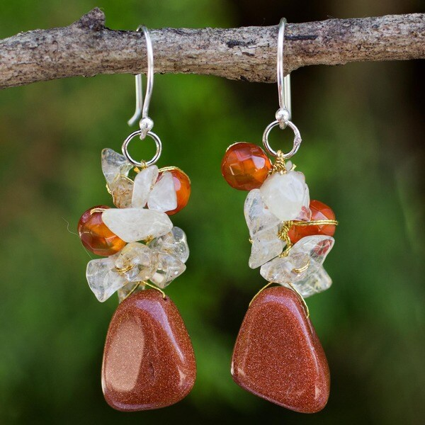 Handmade Sterling Silver Quartz and Carnelian 'Bouquet' Earrings (Thailand)